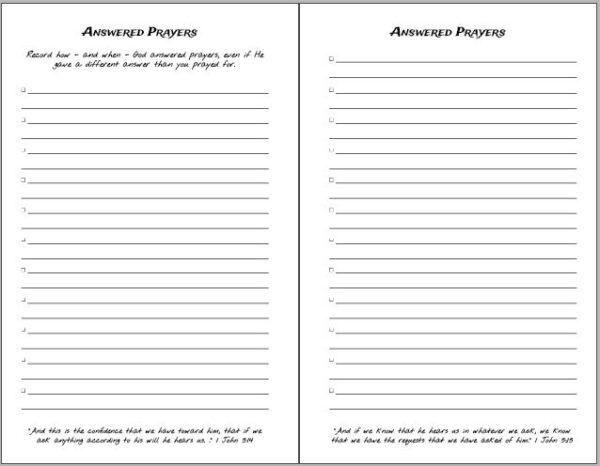 Abide Book Answered prayers page