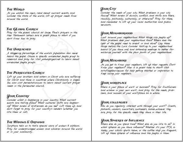 Abide Book Prayer Categories