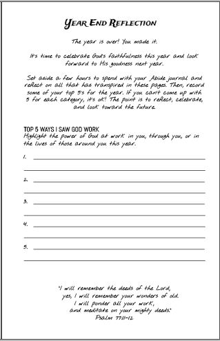 Abide Book Year End Reflection